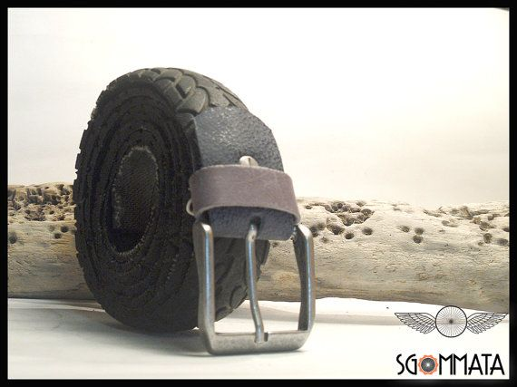 Cintura per uomo di colore nero // fibbia color argento anticato // passante e reggi fibbia in pelle colorata // fatto a mano // art.041