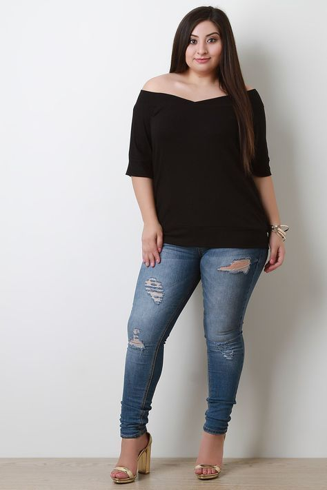 f7707e42eb2 This soft ribbed knit plus size top features an off shoulder neckline