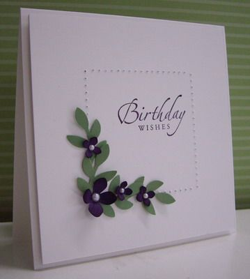 Stamping with Loll:  Birthday Violets - punches and dies, paper piercing (Sept. 2012)