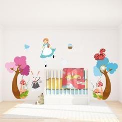Kit Cameretta Alice in Wonderland Alice nel Paese delle Meraviglie Wall Sticker Adesivo da Muro Componibile
