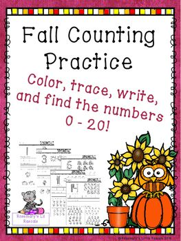This is a fall themed math packet that will give your students extra practice in counting and writing the numbers 0 - 20.Each page features a large number, such as 3, with the arrows and numbers showing how to write the digit.  There are also the same number of fall themed pictures that can be colored to illustrate the number.