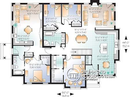 drummond house plans spacious multi generational home plan with 3 bedrooms on main unit
