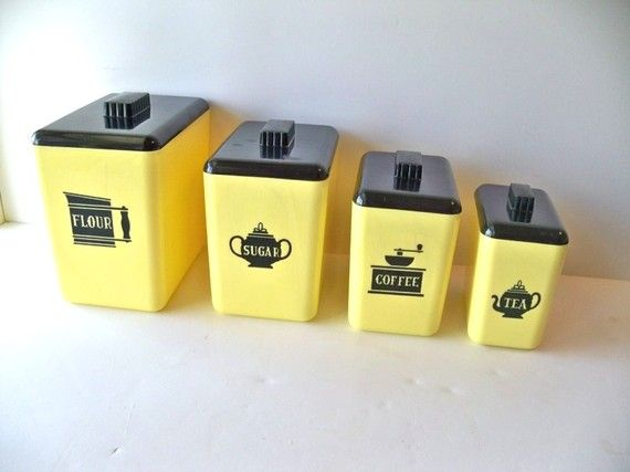 Yellow And Black Canister Set Set Of 4 By MrsRekamepip