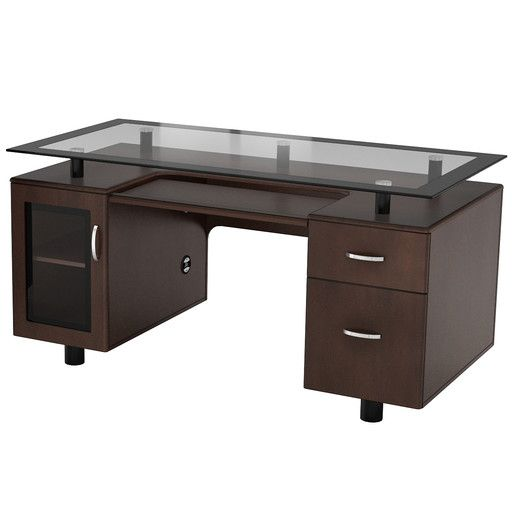 z line designs arria executive desk raised glass top - Desk Modern Design