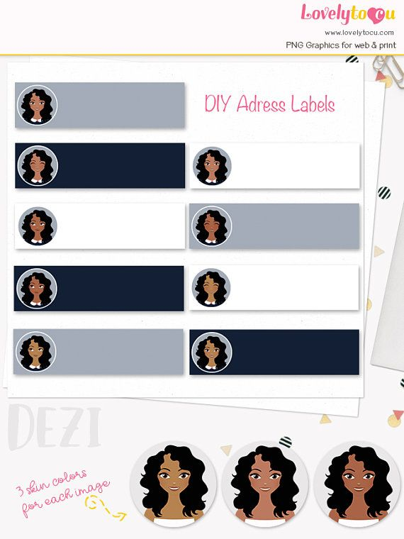 Woman character address labels printable diy address sticker