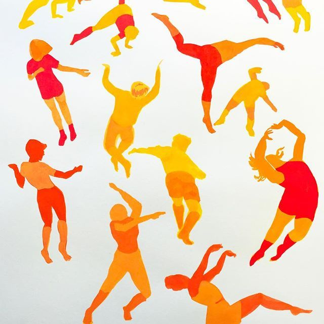 Sketching sketching sketching. Felicia Fortes collects moves with gouache for a poster design.
