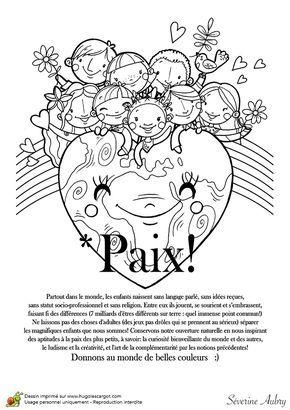 Coloriage sur le th me de la paix pace paz dia de la paz e manualidades - Dessin sur la paix ...