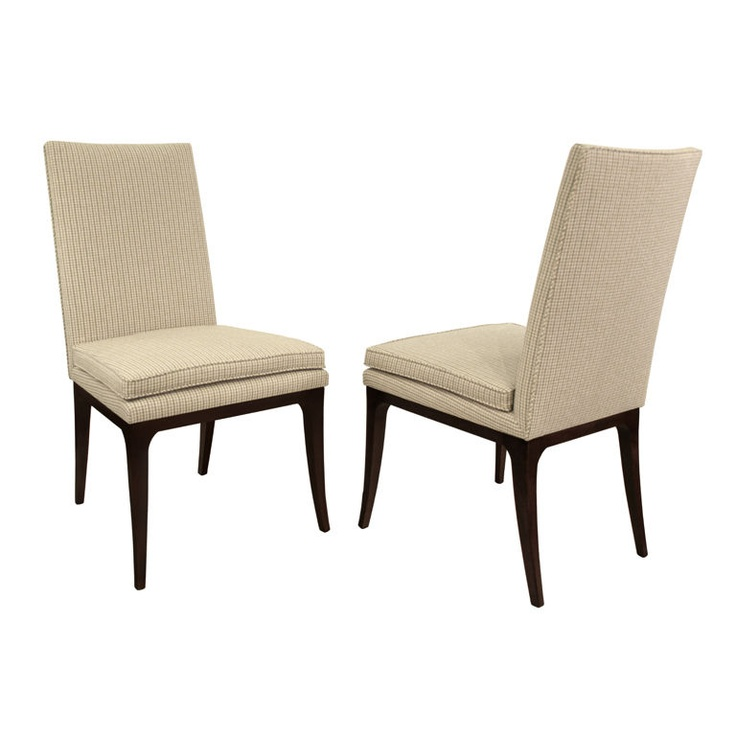 Set Of 8 Elegant Dining Chairs Model No 1243 With Mahogany Bases By Harvey Probber American Newly Upholstered
