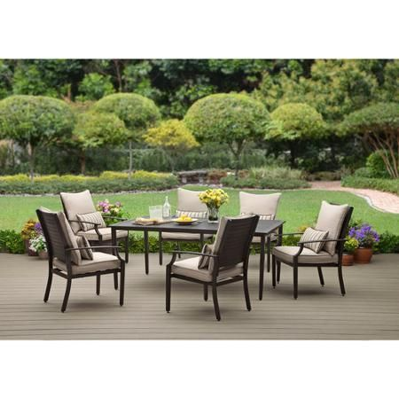 Better Homes And Gardens Shutter 7 Piece Patio Dining Set Seats 6 Patio Dining Sets Dining