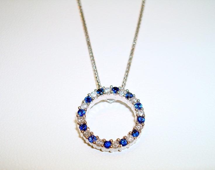 Ceylon Sapphire & Diamond Eternal Circle Pendant.