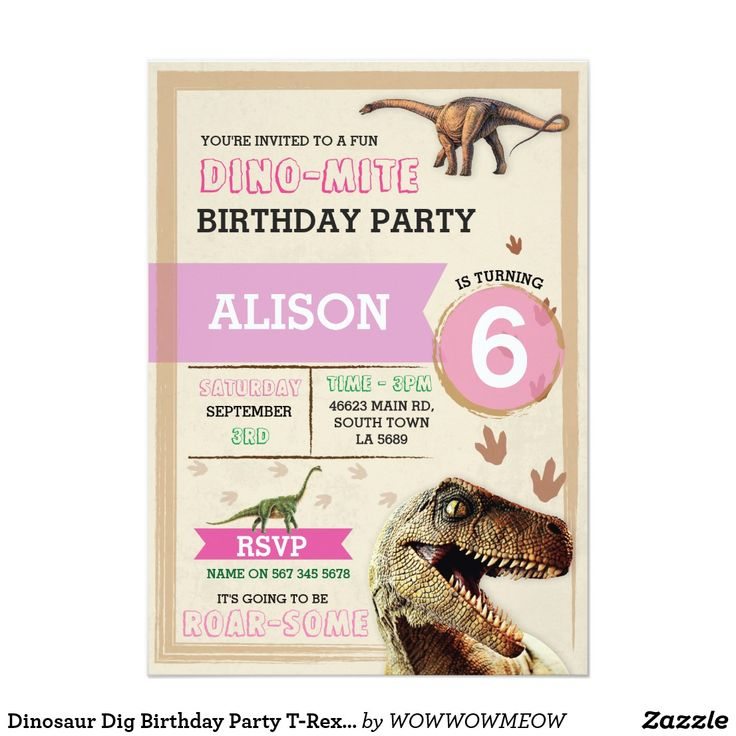 Dinosaur Dig Birthday Party T-Rex Dino Pink Invite Invite your guests to the dinosaur party, dinosaur dig or explorer party. Change the text to suit your party.