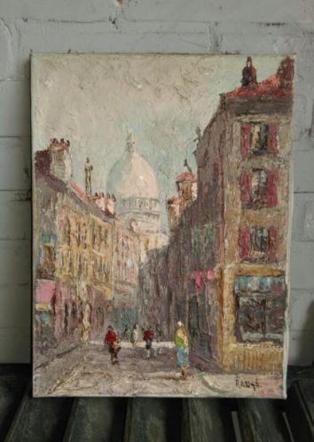 Brocante Schilderij Sleets Parijs Montmartre
