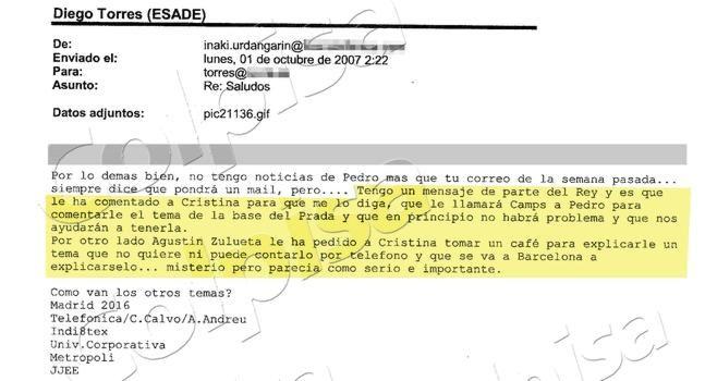 A continuación, se reproducen los tres e-mails originales a los que ha tenido acceso este periódico, en los que el duque de Palma habla de la supuesta intervención de don Juan Carlos y de la Infanta.