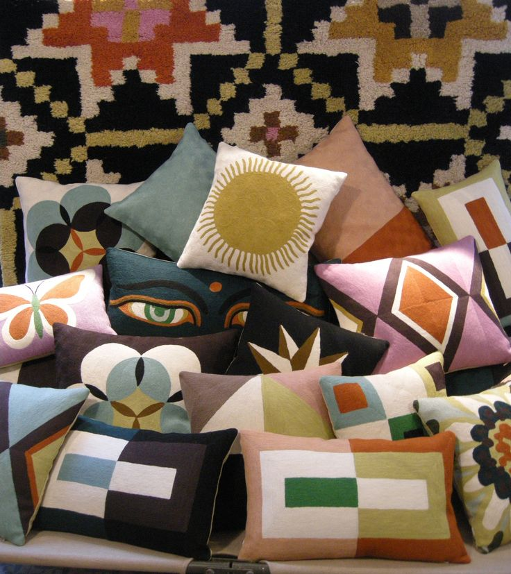 Pile of patternful throw pillows