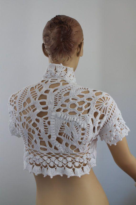 20% de descuento Freeform Crochet algodón boda Shrug - Bolero - lujo - OOAK