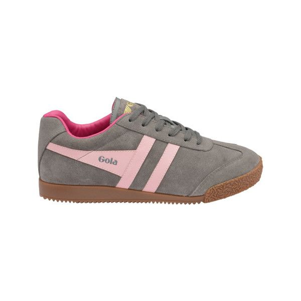 Women's Gola Harrier Sneaker - Grey/Pink/Fuchsia Suede Casual ($85) ❤ liked on Polyvore featuring shoes, sneakers, casual, training shoes, gola sneakers, vintage shoes, pink suede shoes and sports trainer
