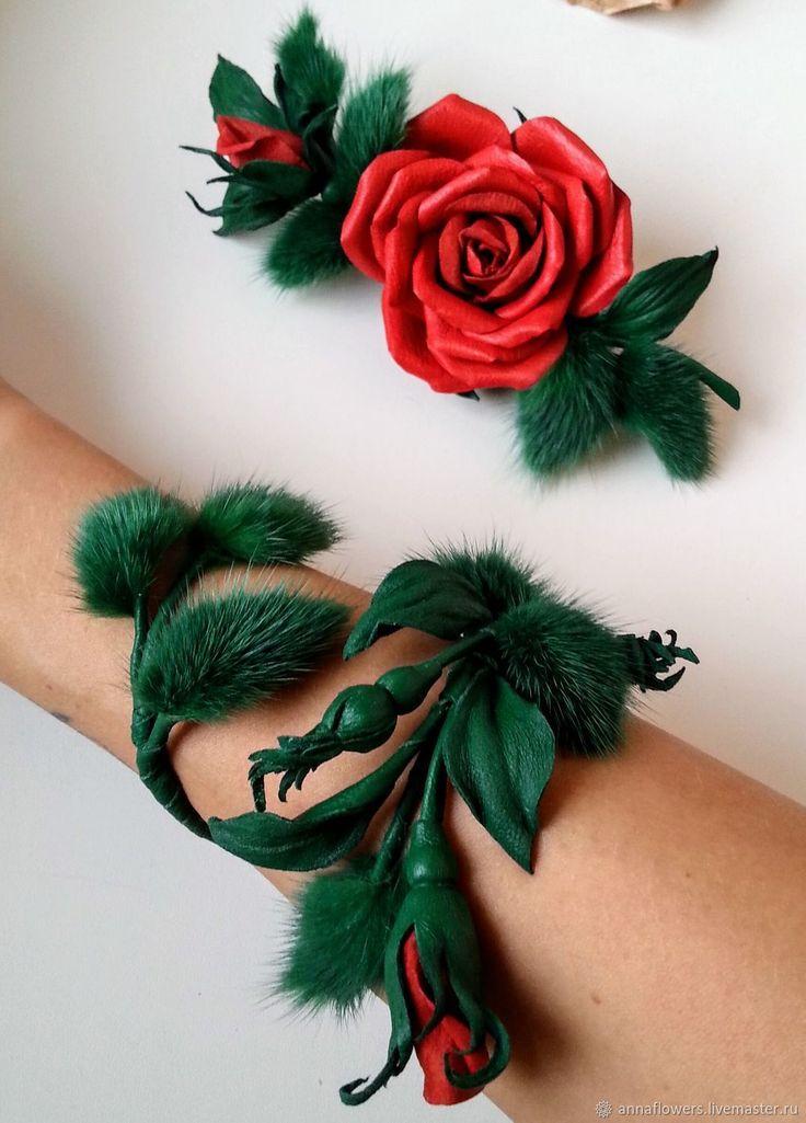 Купить Браслет из кожи и меха норки с бутончиками розы - зеленый, браслет из кожи, браслет с розой