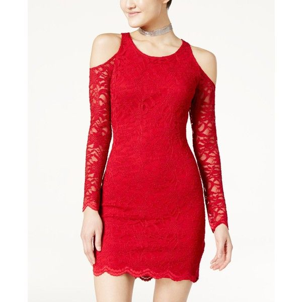 Jump Juniors' Lace Cold-Shoulder Bodycon Dress ($47) ❤ liked on Polyvore featuring dresses, red, night out dresses, holiday party dresses, lace dress, red cocktail dress and lace party dresses