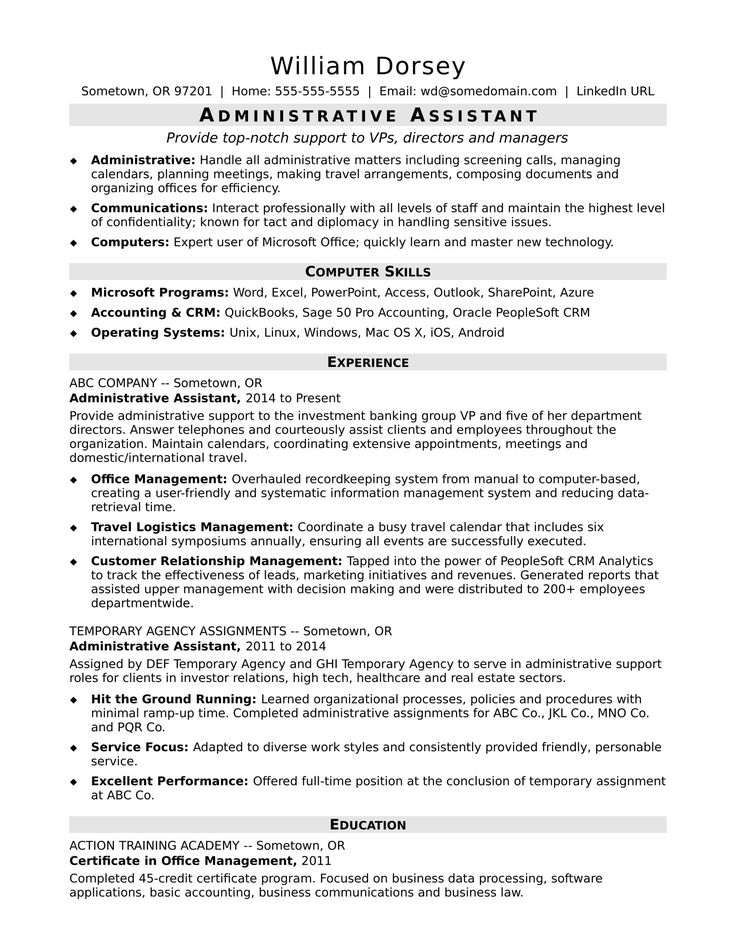 Review this sample for a midlevel administrative assistant to see how you can emphasize your office skills and proven success in administrative roles.