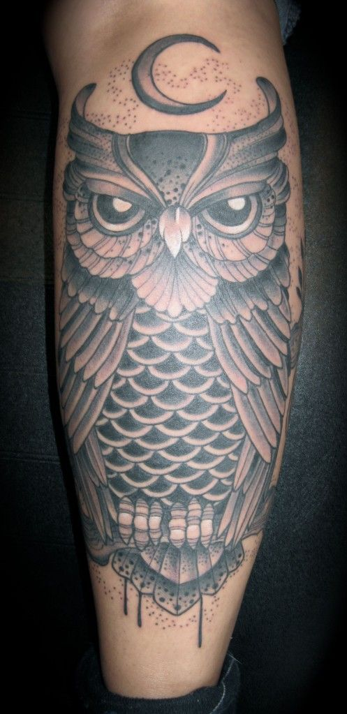 Traditional Owl Tattoos | Inkzine.se >> Traditional Owl Tattoo Black and Grey