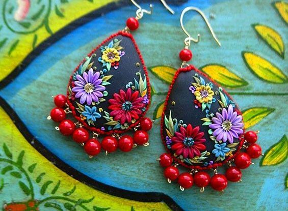 Mexican embroidery teardrop earrings