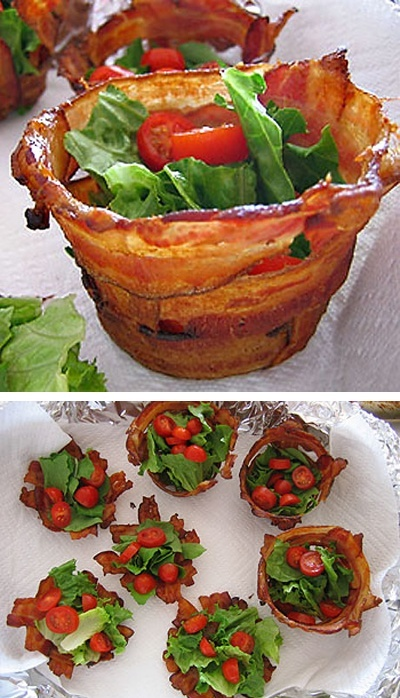 Breakfast/Lunch/Dinner Side Dish Idea: Bacon Cups - Fill with Side Salad....Mashed Potatoes...Hash Browns....Steamed Green Beans....etc.