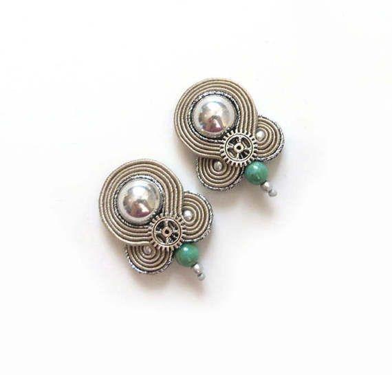 Beige earrings soutache earrings sparkle silver small by sutaszula