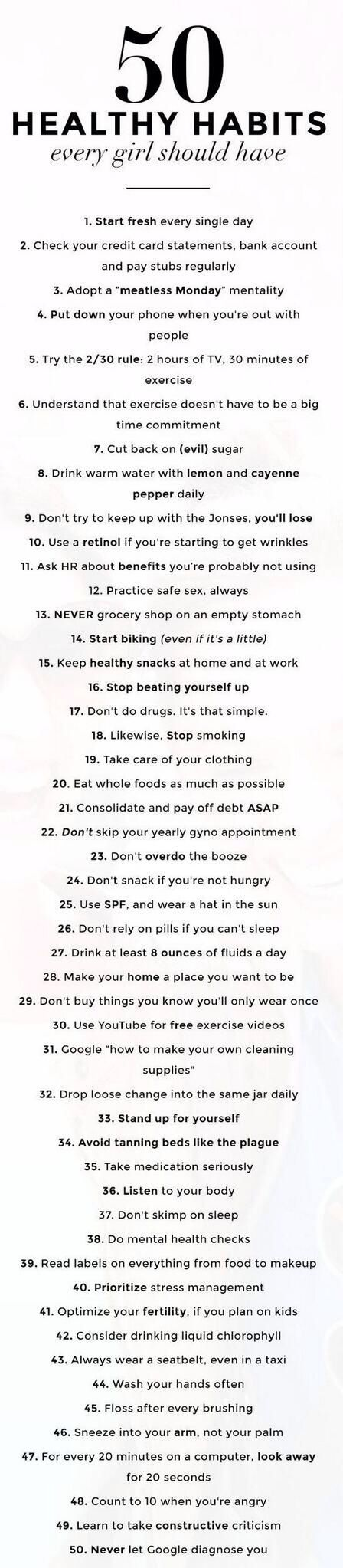 50 healthy habits every girl should have.