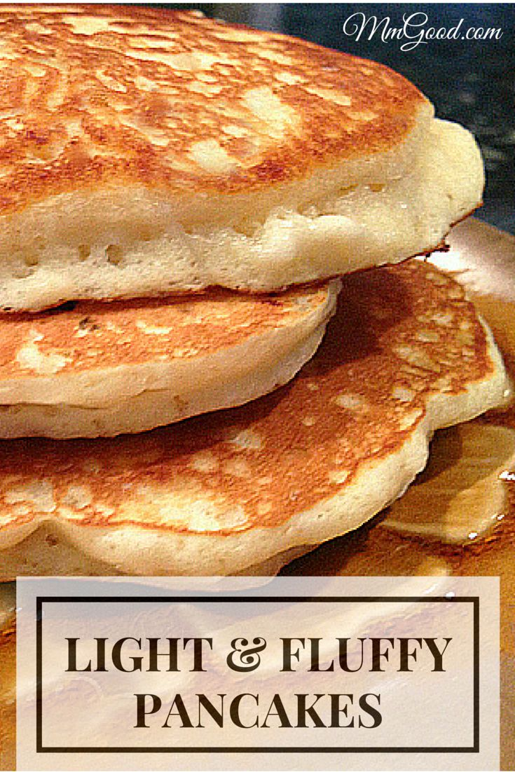 Light and fluffy pancakes with a secret ingredient to make them super fluffy, my number one recipe from my blog.  You will never again buy purchased mix and will make your own pancakes homemade every time, come read my comments, everyone loves this recipe | www.mmgood.com