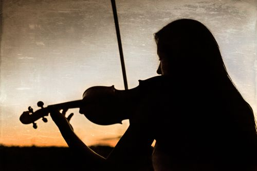 Senior Portrait Photography Music Violin silhouette