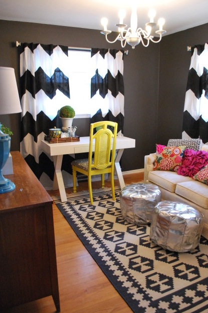 Lovely office/guest room: Spaces, Living Rooms, Homes Offices, Wall Color, Desks, Rugs, Guest Rooms, Yellow Chairs, Chevron Curtains