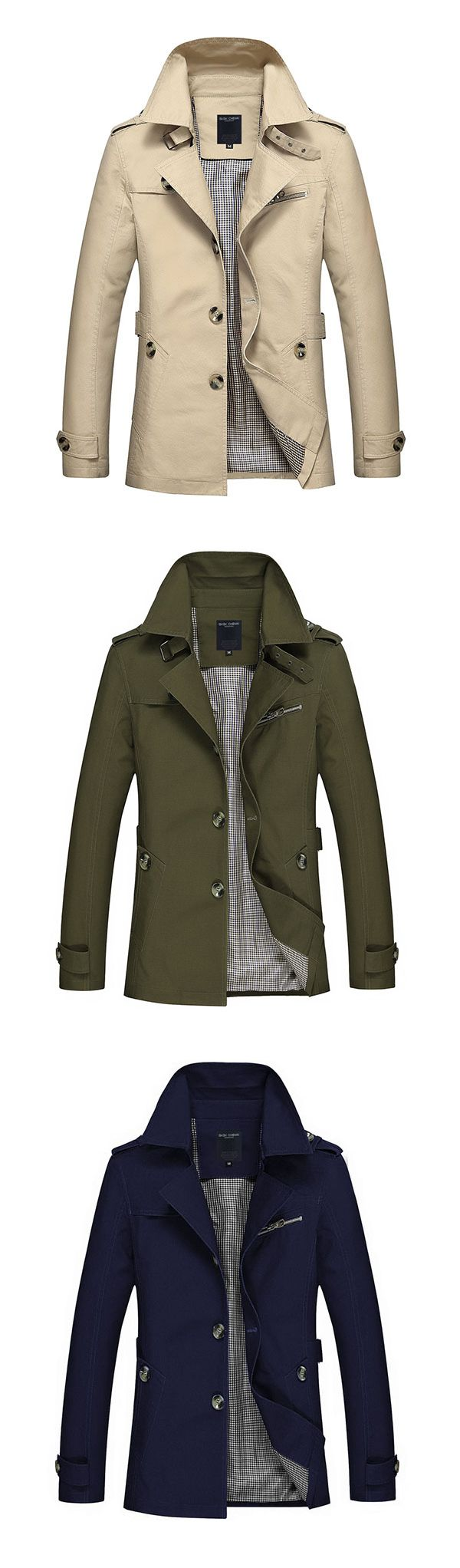 US$31.22 (49% OFF) Fall&Winter Outfit Business&Casual Trench Coat / Washed Cotton Turndown Collar Jacket for Men