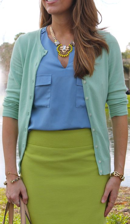 Layer on the color this summer! This vibrant pairing is perfect for chilly offices. Lose the cardigan as you head outside or out to happy hour.