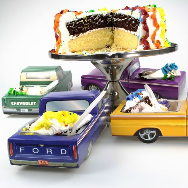 Made of thick paperboard, this Classic Cruisers car carton is the perfect centerpiece for a 1960s theme party. This paper replica of a vintage blue Ford pickup truck folds together and can be used as a candy goodie basket or retro table decoration. Great for kids birthdays, reunions and anniversary parties. Available plastic inserts turn it into the coolest food tray around. Affordable and fun. Officially licensed. Measures 11