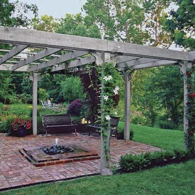 A freestanding pergola and outdoor fire pit make this spot an attractive backyard destination. | Photo Richard Felber (Styling by Michelle Lay) | thisoldhouse.comNice Shades, Herbs Projects, Gardens Bricks, Pergolas Patios, Backyards Patios, Outdoor Fire Pit Area, Herbs Gardens, Bricks Patios, Gardens Hands Pick