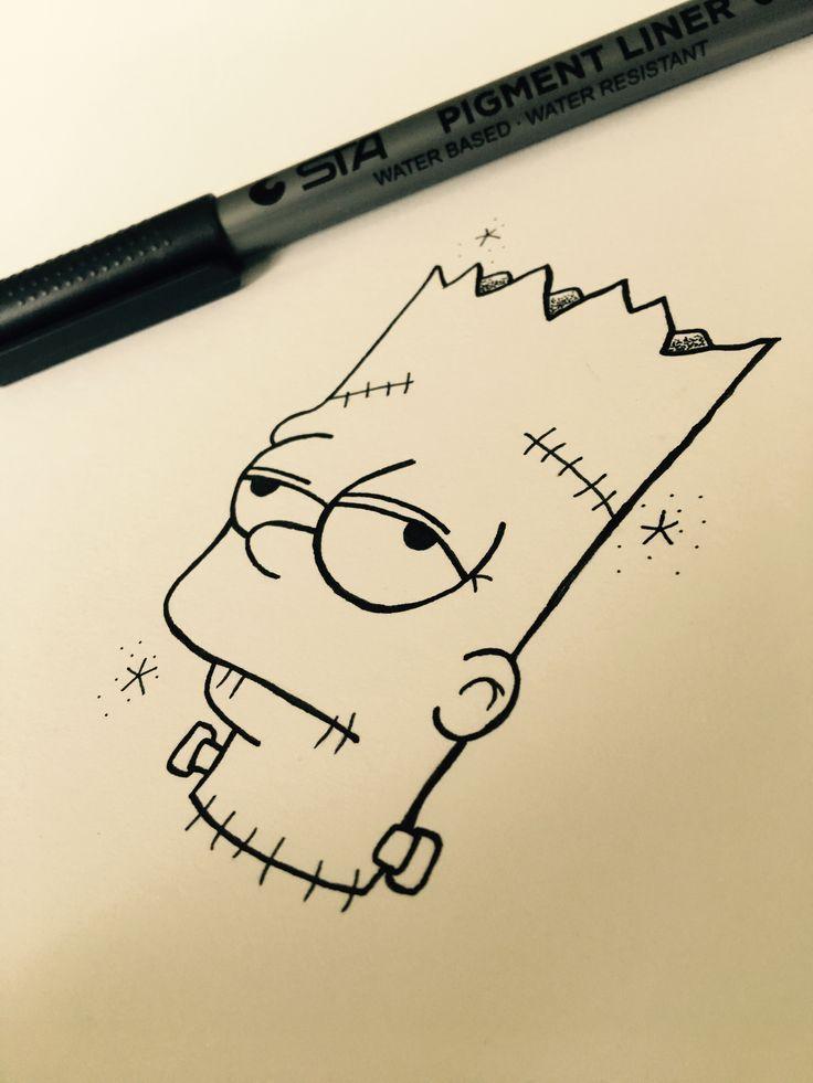 Bartsimpson Frankensteinsmonster Halloween Pencil Art Drawings Art Drawings Simple Art Drawings