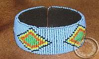 African Zulu beaded Bracelet - Blue