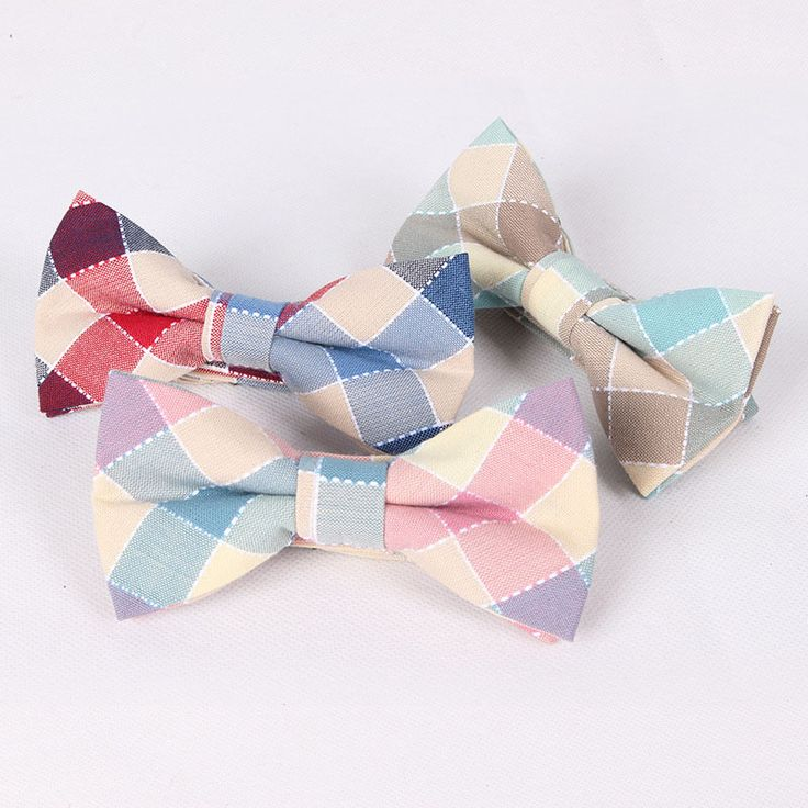 100% Cotton Mens Bow Tie Fashion Plaid Wedding Cravat Party Butterfly Ties Casual Business Men Bowties Free Shipping