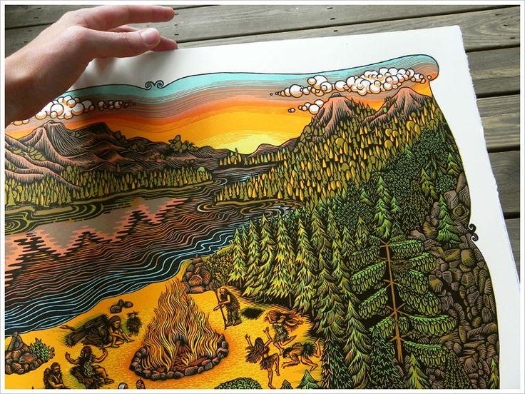 Full Color Woodcut Print Of Landscape