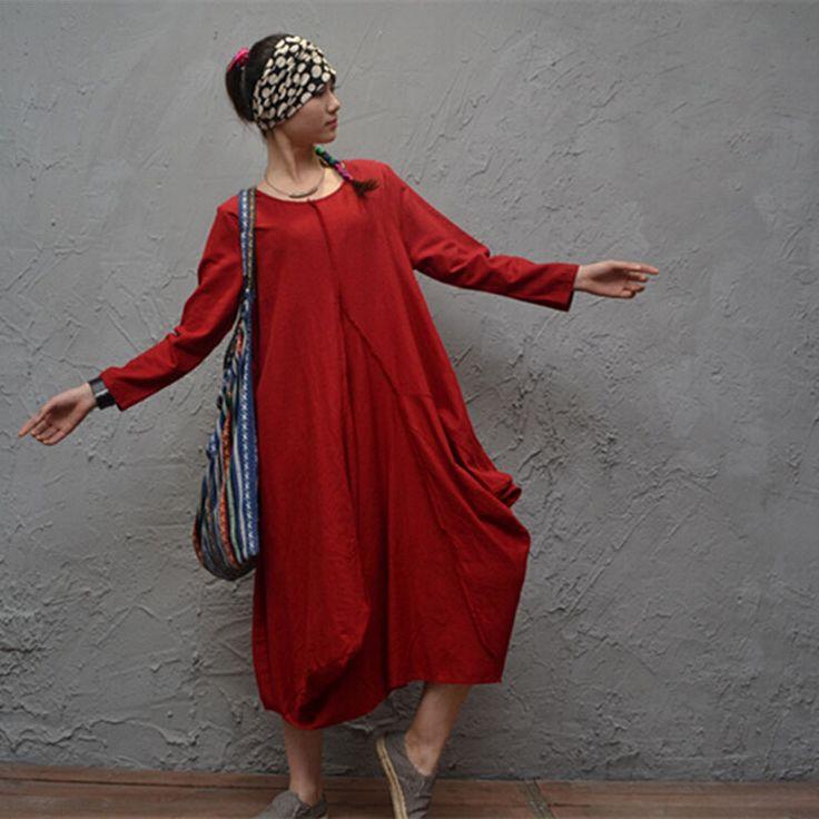 Znajdź więcej Suknie informacji o 2016 nowa wiosna kobiety odzież cotton linen casual loose o neck suknia do kostek solid color długim rękawem sukienki, wysokiej jakości suknie formalne, Chiński sleev dostawca, tanie sukienka sheer rękawy od Johnature na Aliexpress.com