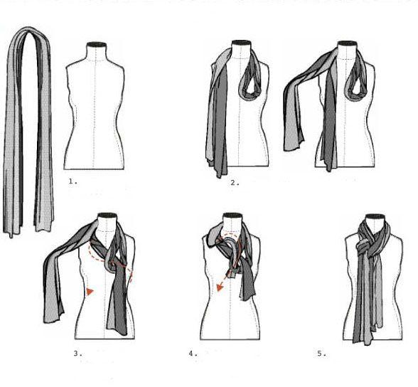 Схема, как красиво завязать шарф