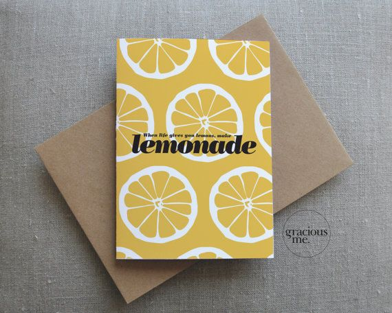 Cheer up Card 'When life gives you lemons' card by GraciousMeShop | Gracious Me Design