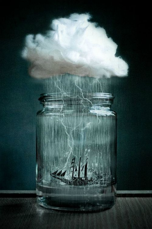 Tell the story of this ship, once lost at sea, now caught in an eternal storm inside a canning jar . . .