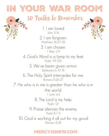 10 Truths to Remember In Your War Room Free Printable