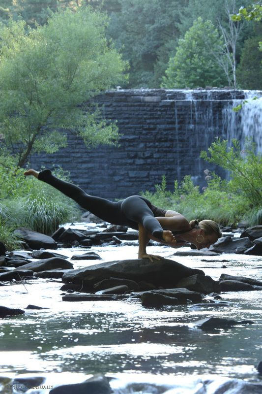 Eka Pada Koundinyasana II yoga on the river