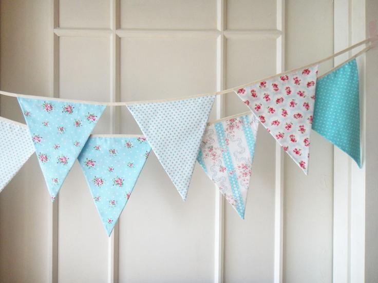 Sweet Blue Bunting, Wedding Fabric Banner, Garland, Bunting Flags, Floral, Polka Dots  - 3 yards (Ready to ship). $29.00, via Etsy.