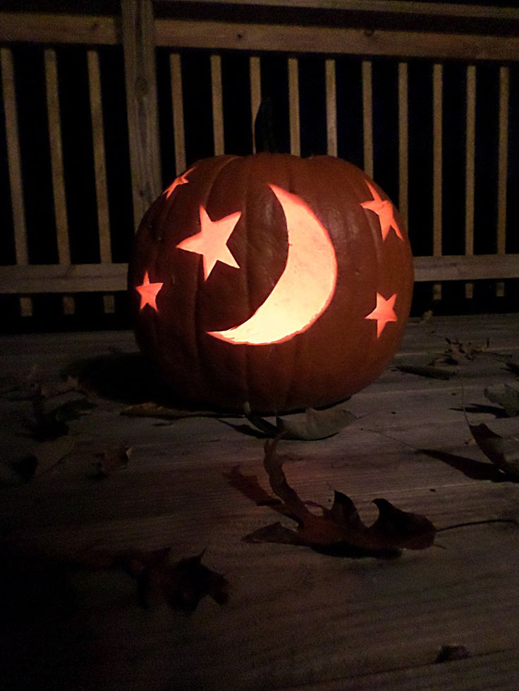 moon and stars pumpkin carving fall time pinterest