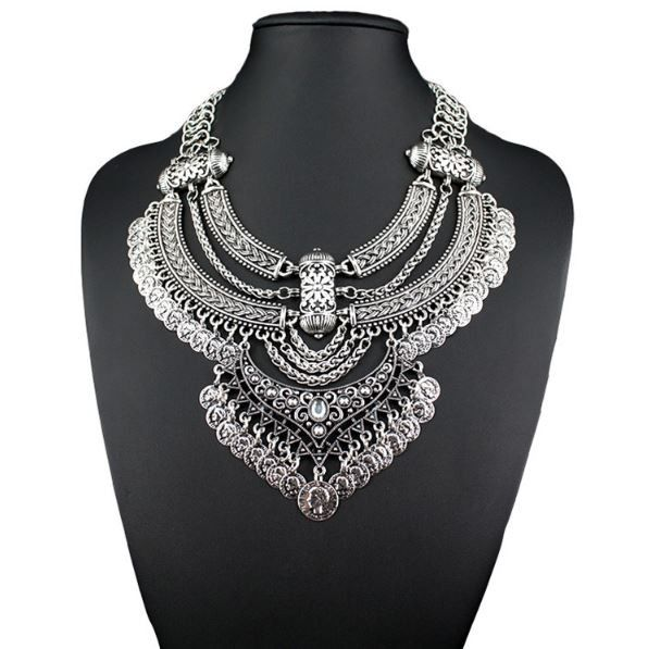 $15 Vintage Silver Bohemian Multi-Layer Coin Necklace