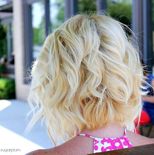 Hi Sugarplum | Angled Piecey Bob haircut, styled curly