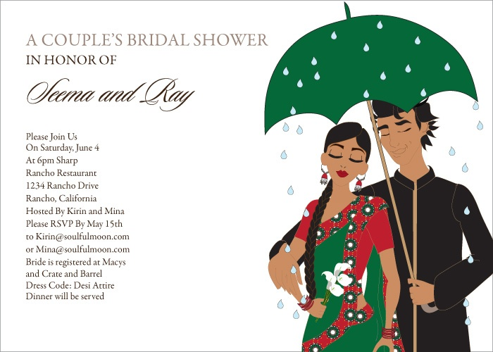Umbrella Couple Indian Bridal Shower Invitations by # ...